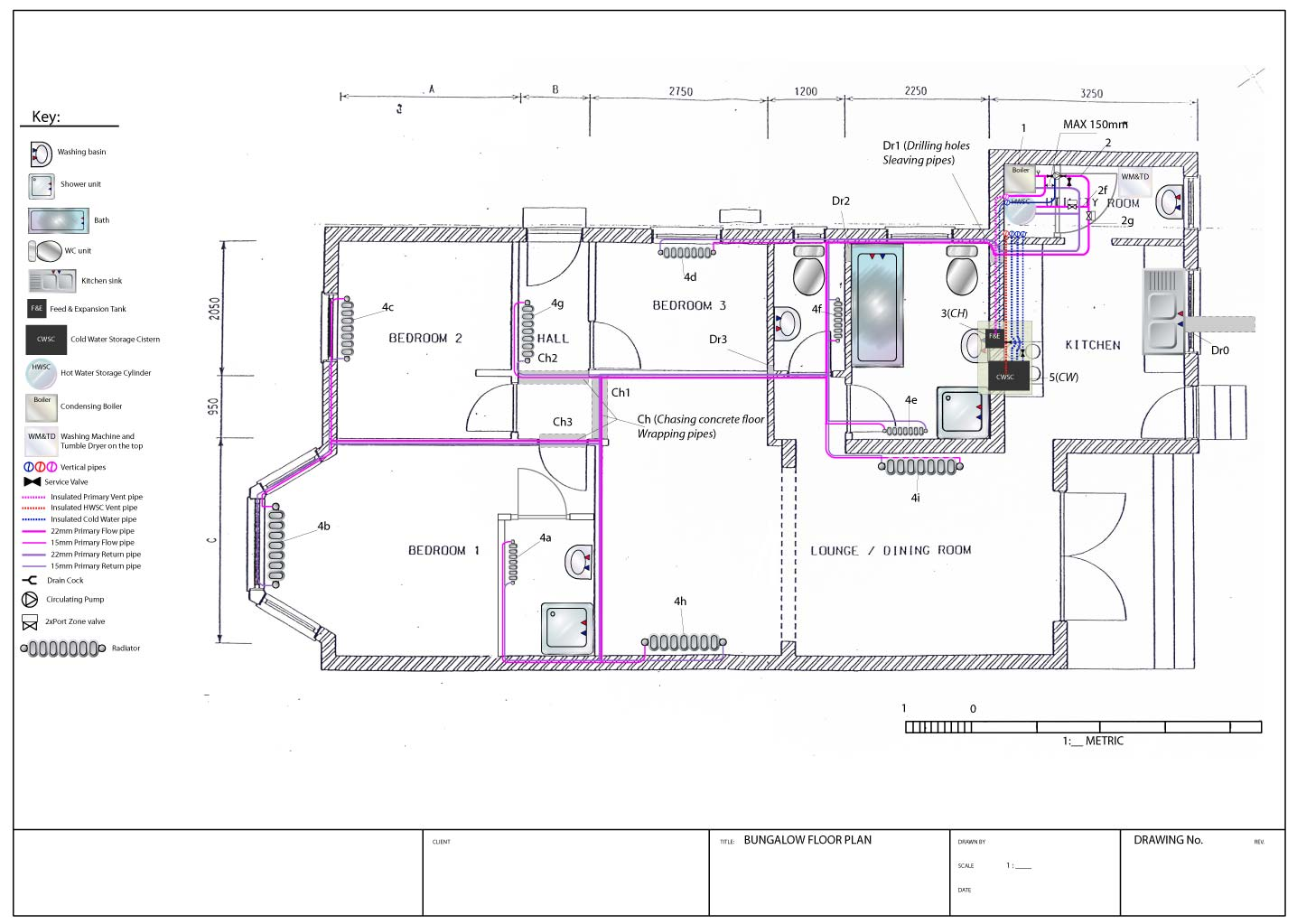 System planning and design bungalow project for plumbing for Blueprints and plans for hvac pdf